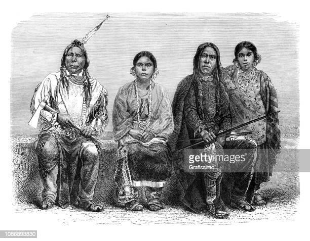 ilustraciones, imágenes clip art, dibujos animados e iconos de stock de gente indígena de la tribu sioux 1874 - indios americanos sioux