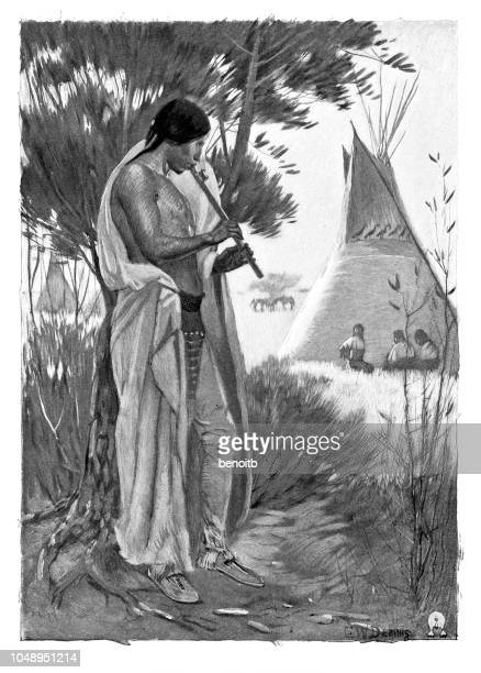 native american playing flute near the teepee - teepee stock illustrations