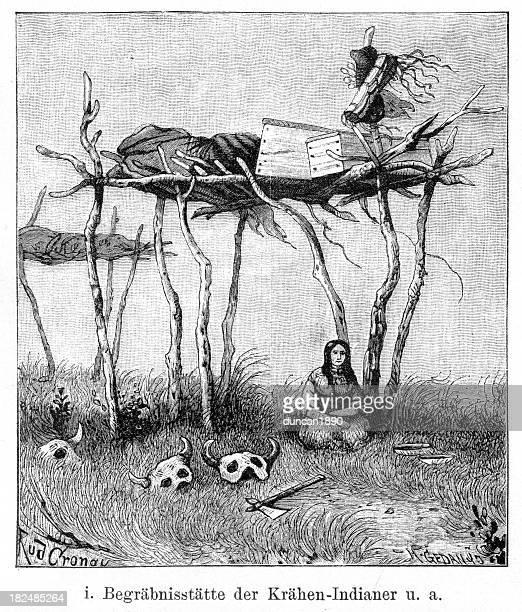 ilustraciones, imágenes clip art, dibujos animados e iconos de stock de nativa americana o al enterramiento de andamio - indios americanos sioux