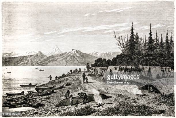 Native american tent camp on the yukon river