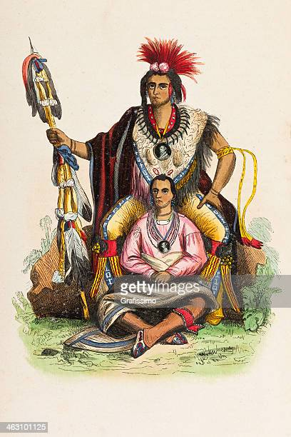 native american tribal chief from 1849 - cherokee culture stock illustrations, clip art, cartoons, & icons