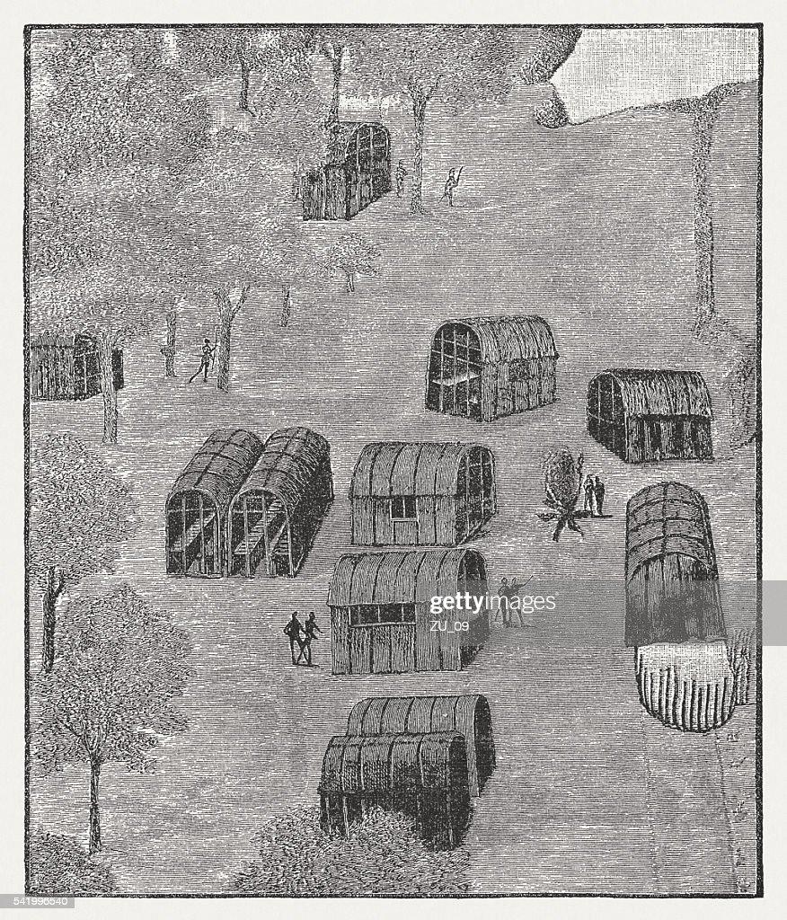 Native American Village of Secotan in Roanoke, published 1884 : stock illustration