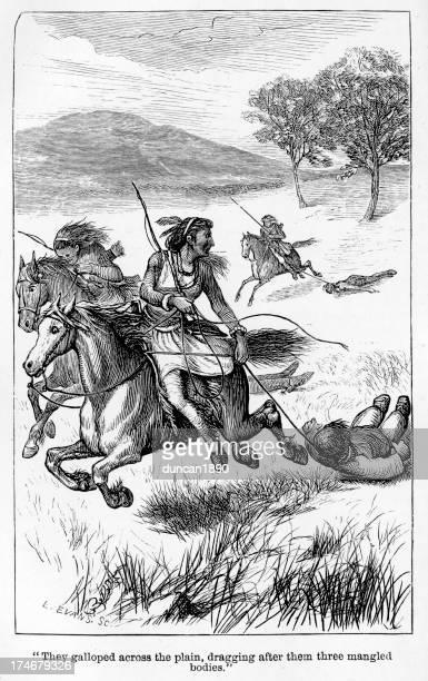 ilustraciones, imágenes clip art, dibujos animados e iconos de stock de nativo americano warriors - indios americanos sioux