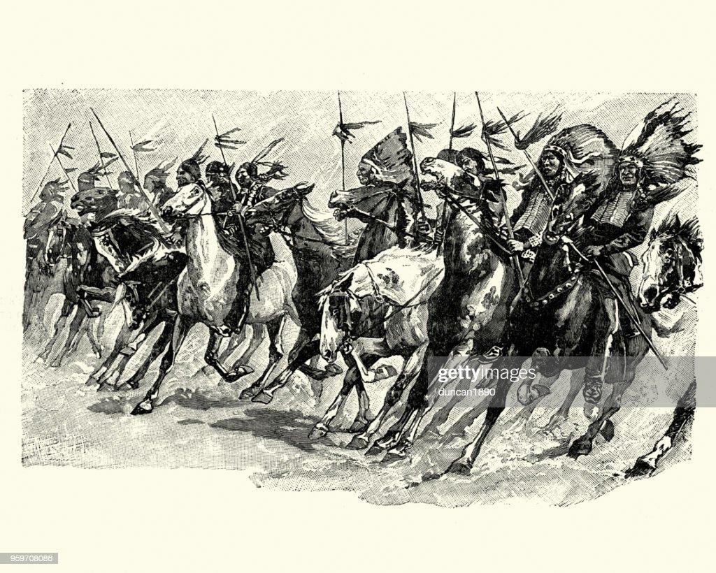 Native American Warriors on horseback, 19th Century : Stock Illustration