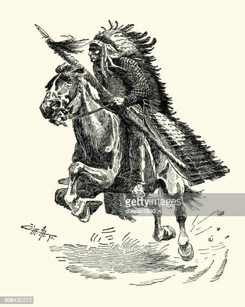 native american warrrior on horseback with lance, 19th century - indigenous north american culture stock illustrations, clip art, cartoons, & icons