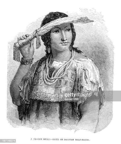 ilustraciones, imágenes clip art, dibujos animados e iconos de stock de nativo americano mujer - indios americanos sioux
