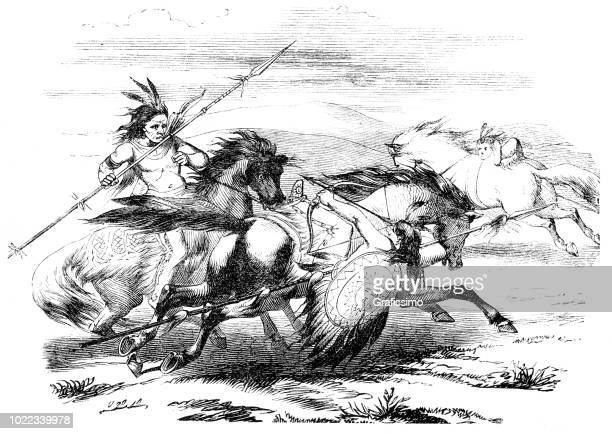 native americans apaches riding horses fighting 1870 - shoshone national forest stock illustrations, clip art, cartoons, & icons
