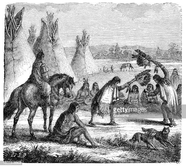 native americans apaches shaman dancing rain dance 1876 - shoshone national forest stock illustrations, clip art, cartoons, & icons