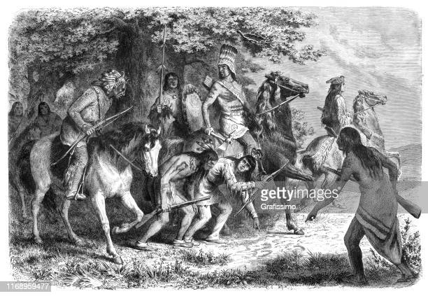 native americans at war 1862 - indian costume stock illustrations, clip art, cartoons, & icons