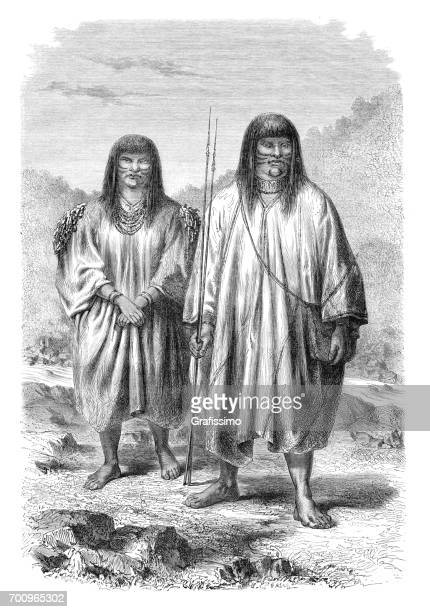 native americans from the tribe antis in peru 1864 - inca stock illustrations, clip art, cartoons, & icons