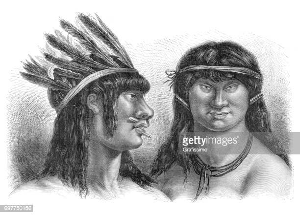 native americans of peru couple with headdress - indian costume stock illustrations, clip art, cartoons, & icons