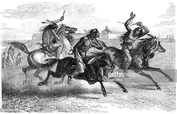 native americans riding horses - shoshone national forest stock illustrations, clip art, cartoons, & icons