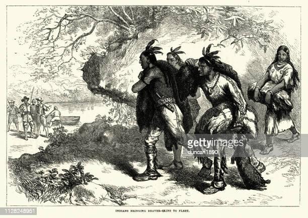 indianern handel biber häute mit kolonisten aus dem 18. jahrhundert - handel treiben stock-grafiken, -clipart, -cartoons und -symbole