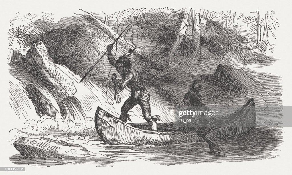 滝で釣りをしながらネイティブアメリカン木版画1876年に出版 ストック ...