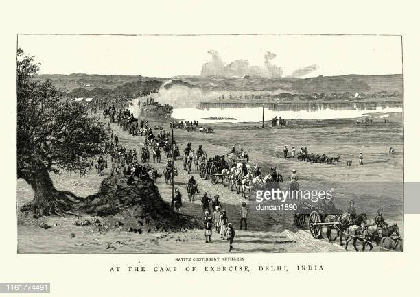 native artillery of the british indian army, 19th century - commonwealth stock illustrations