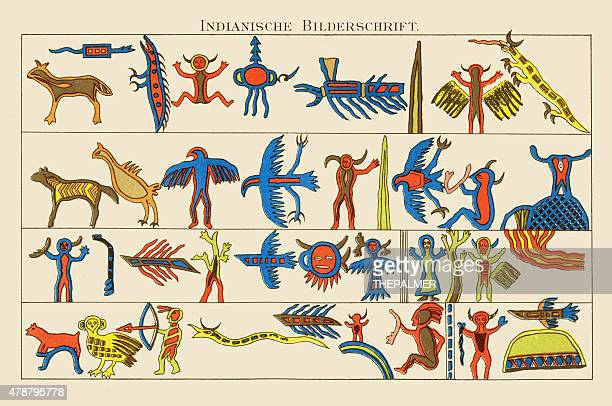 Native Indian Art Lithograph 1895