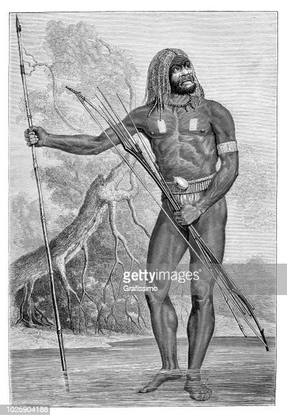native indian at papua new guinea with traditional clothing - indian costume stock illustrations, clip art, cartoons, & icons