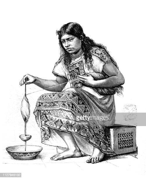 illustrations, cliparts, dessins animés et icônes de native indian girl main-rotation à l'aide d'une broche de goutte - paraguay