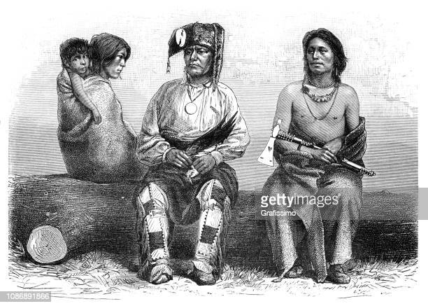 native north american family of pawnee tribe 1874 - indian costume stock illustrations, clip art, cartoons, & icons