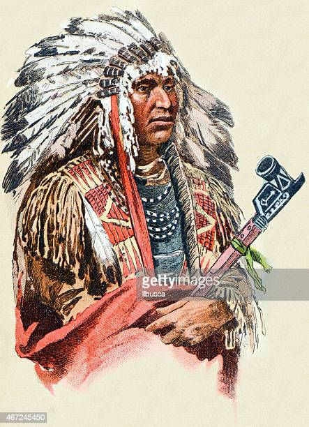 native north american man, antique illustration, human ethnicities - indigenous north american culture stock illustrations, clip art, cartoons, & icons