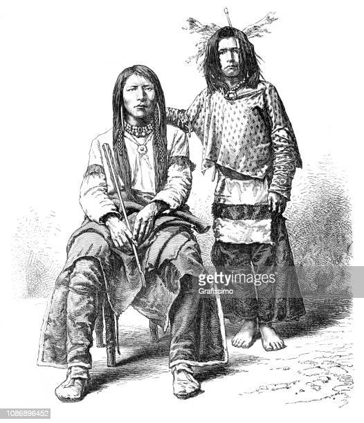 native north american people of tribe ute 1874 - indian costume stock illustrations, clip art, cartoons, & icons