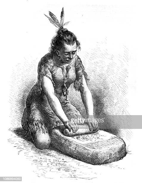 native north american woman of tribe ute milling corn1874 - indian costume stock illustrations, clip art, cartoons, & icons
