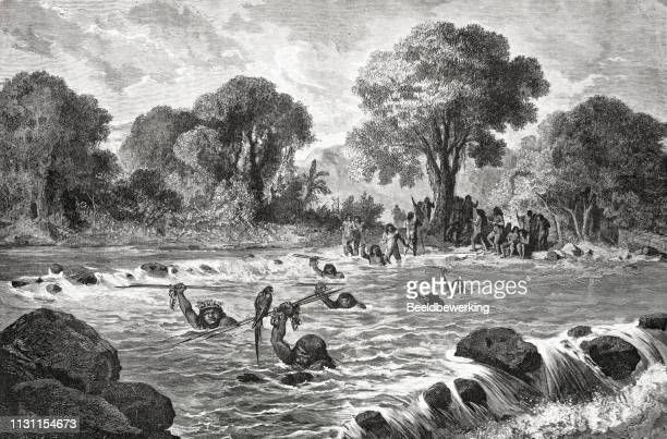 Native peruvians crossing fast flowing river