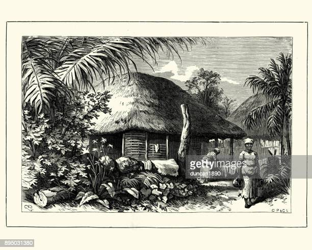 Native village and house, Jamaica, 19th Century