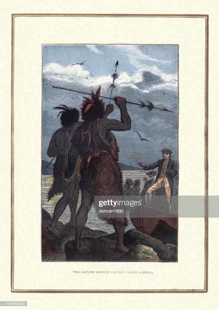 原住民はキャプテンクックの着陸を争います ストック ...
