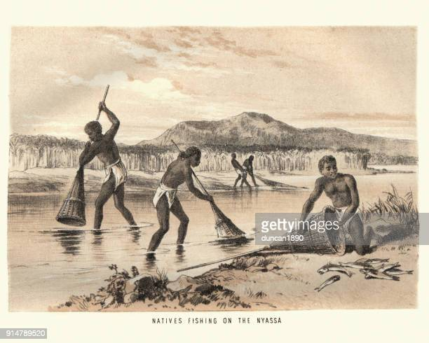 natives fishing on lake nyasa, 19th century africa - mozambique stock illustrations, clip art, cartoons, & icons