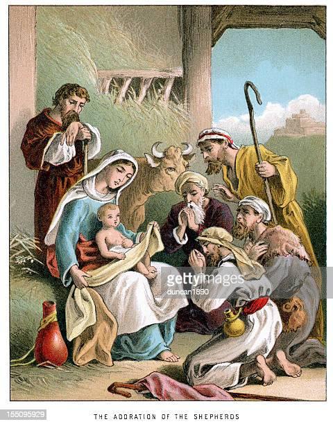 nativity adoration of the shepherds - shepherd stock illustrations