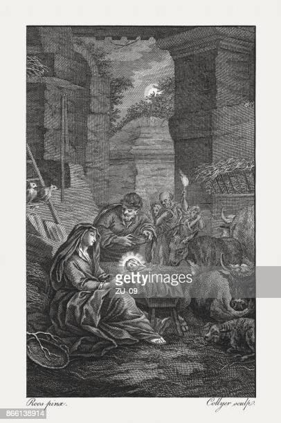 illustrazioni stock, clip art, cartoni animati e icone di tendenza di nativity of jesus christ (luke 2), copperplate engraving, published 1774 - san giuseppe