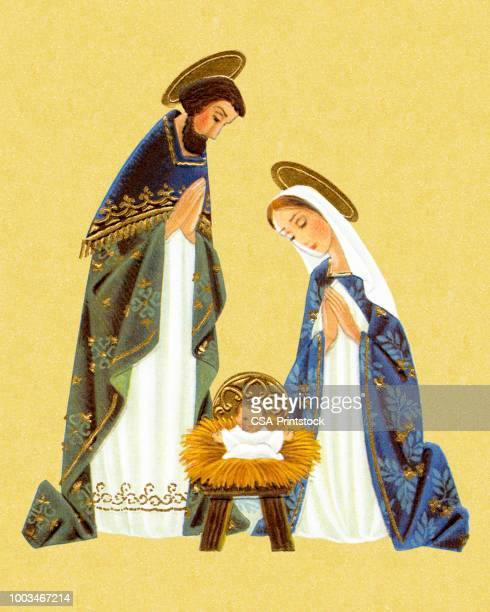 nativity scene - nativity scene stock illustrations