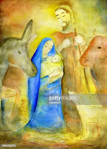 nativity scene - nativity scene stock illustrations, clip art, cartoons, & icons