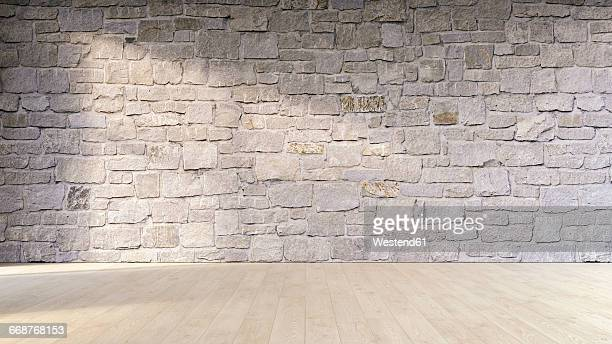 Natural stone wall and wooden floor, 3D Rendering