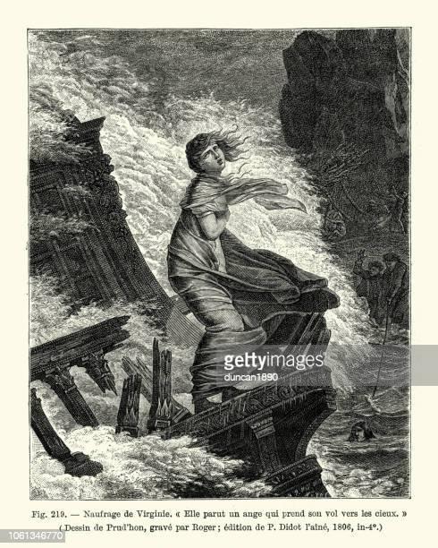 Naufrage de Virginie, Young woman survivor of a shipwreck, 1806