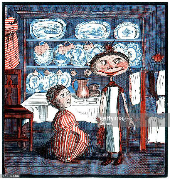 Naughty girl who cut off her sibling's hair (Victorian cartoon)