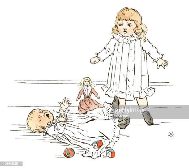 ilustraciones, imágenes clip art, dibujos animados e iconos de stock de naughty niña victoriana empujar sobre un bebé - maltrato infantil