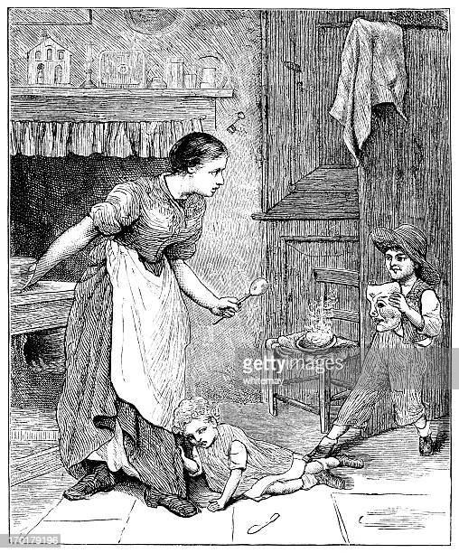 naughty victorian child in a kitchen - naughty america stock illustrations