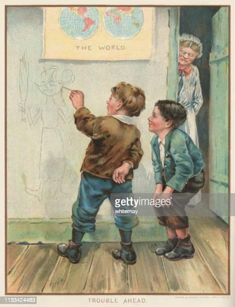 ilustraciones, imágenes clip art, dibujos animados e iconos de stock de travieso escolar victoriano dibujando una caricatura de su maestro en la pared-y ella lo está observando! - inocentada