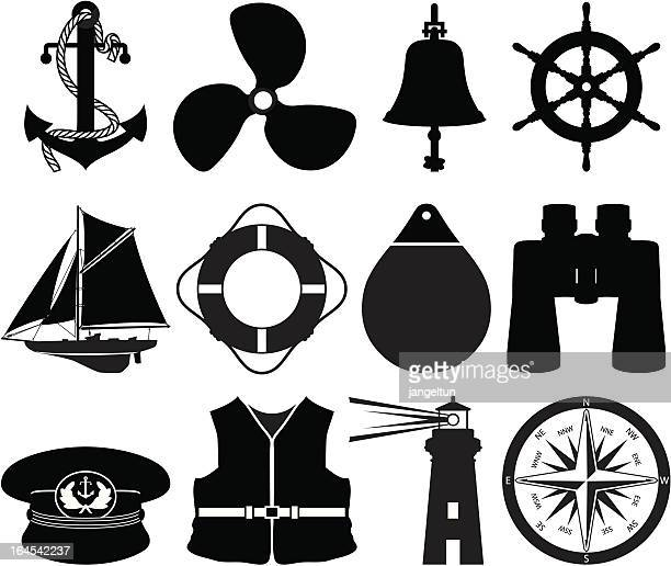 nautical icons - propeller stock illustrations