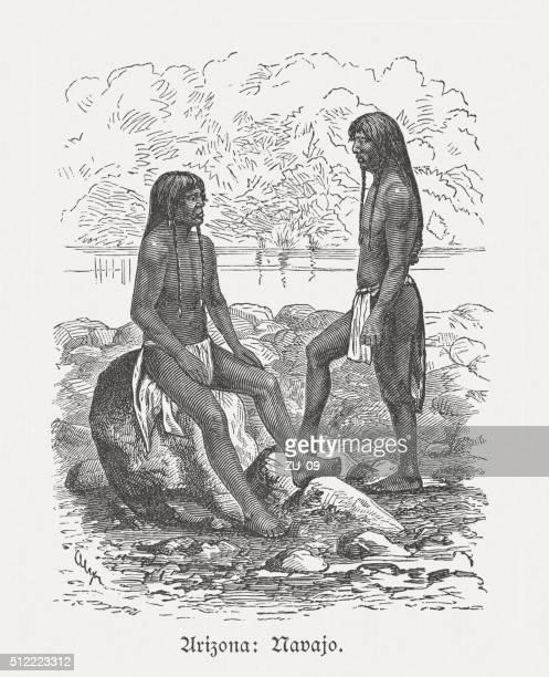 ナバホ のアメリカ人、木製の彫り込み、発行に 1880 ) - ナバホ文化点のイラスト素材/クリップアート素材/マンガ素材/アイコン素材