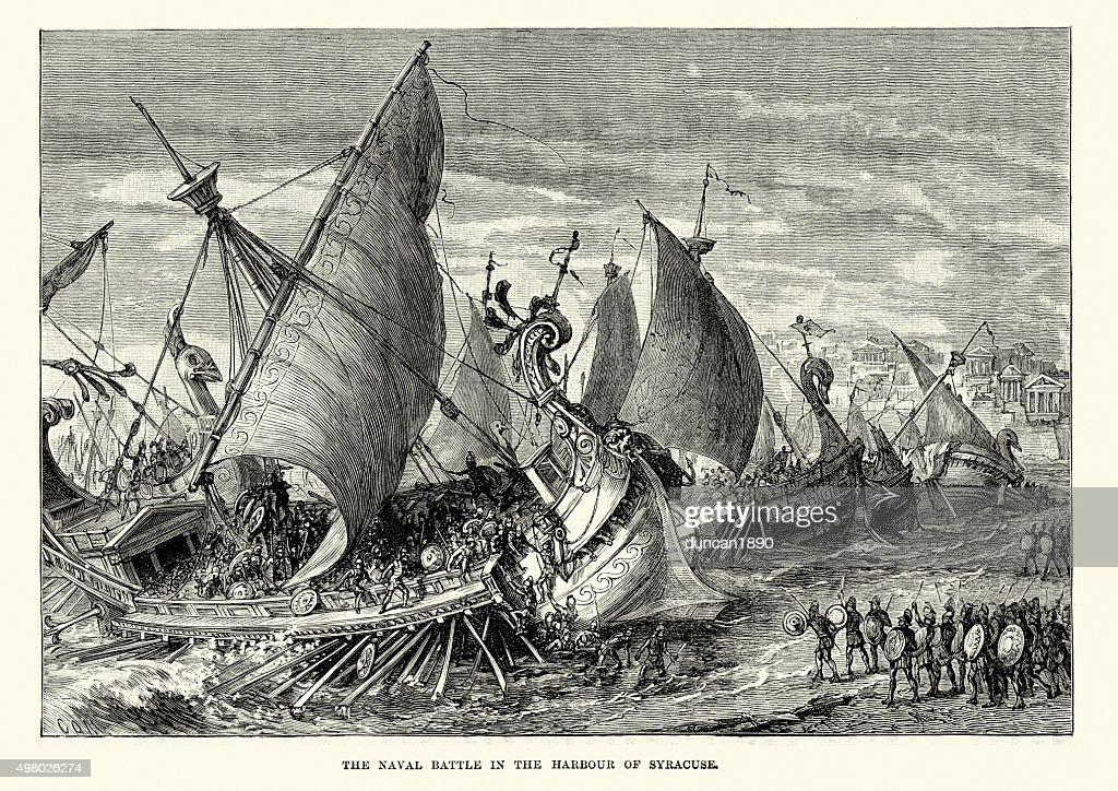 Naval Battle in the Harbour of Syracuse : stock illustration