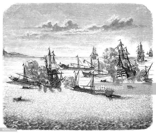 naval battle near rhodes ,turks take rhodes - martinique stock illustrations