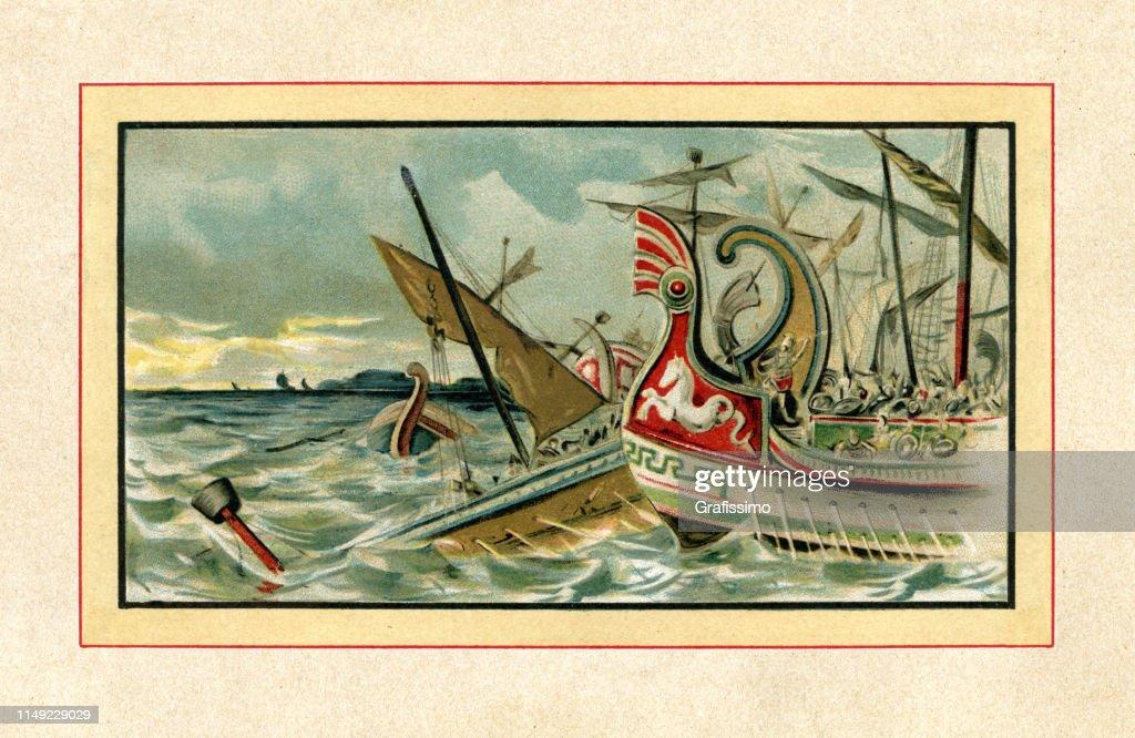 Batalla naval de Arginusae 406 A.C. cerca de Lesbos : Ilustración de stock