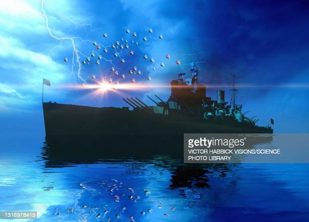 naval ship swarmed by drones, illustration - military stock illustrations