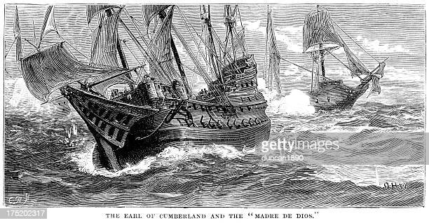 naval warfare - cumberland and the madre de deus - bang boat stock illustrations