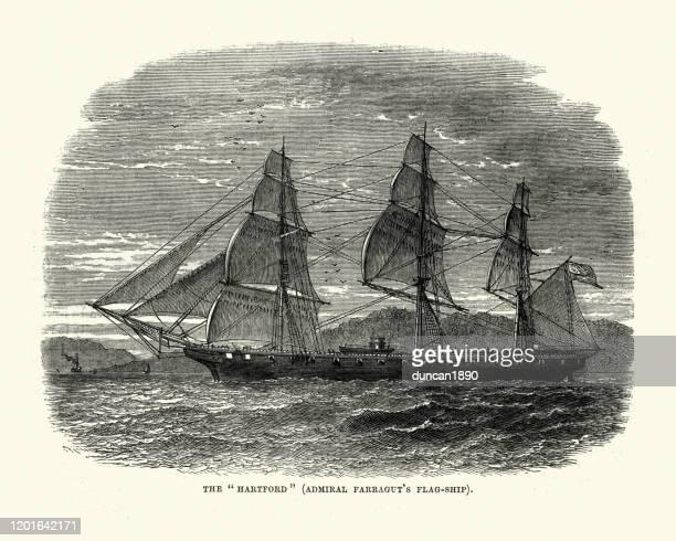 アメリカ海軍、ハートフォード(1858)デビッド・g・ファラガットの旗艦 - コネチカット州ハートフォード点のイラスト素材/クリップアート素材/マンガ素材/アイコン素材
