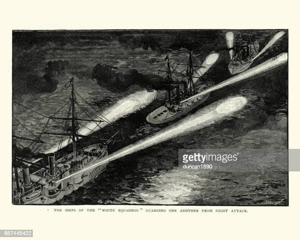 us navy warships using search lights at night, 1892 - us navy stock illustrations, clip art, cartoons, & icons