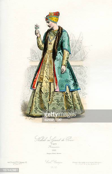 nawab or grandee of persia period costume - castrated man stock illustrations
